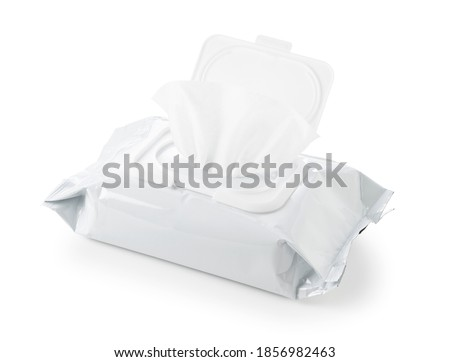 White plain wet wipes placed on a white background Royalty-Free Stock Photo #1856982463