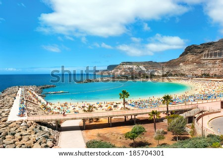 View over Amadores beach on Gran Canaria, Spain  Royalty-Free Stock Photo #185704301