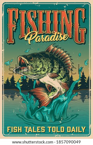 Fishing vintage colorful poster with big bass fish jumping out of pond vector illustration