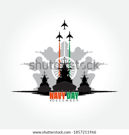 Vector illustration of Indian navy day. Indian national celebration. poster, banner. Royalty-Free Stock Photo #1857211966