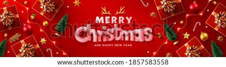 Merry Christmas & Happy New Year Promotion Poster or banner with red gift box,LED String lights and christmas element for Retail,Shopping or Christmas Promotion in red and gold style. #1857583558