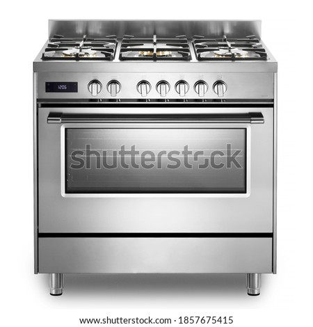 Single Cavity Duel Fuel Range Cooker Isolated on White. Front View Stainless Steel Freestanding Kitchen Stove with Convection Oven. Domestic Major Appliances. Gas Range 5 Burners Cooktop Royalty-Free Stock Photo #1857675415