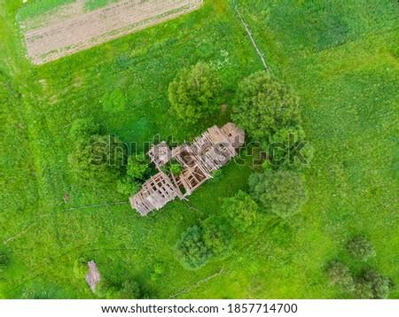 Abandoned temple in a Russian village. Wooden temple. Lemenga village. Velsky district, Arkhangelsk region #1857714700