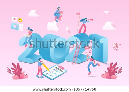 Happy new year 2021. 2021 business goals concept illustration.  Marketers doing social media marketing, seeking new opportunities, flying on rocket and checking resolutions list for new year #1857714958