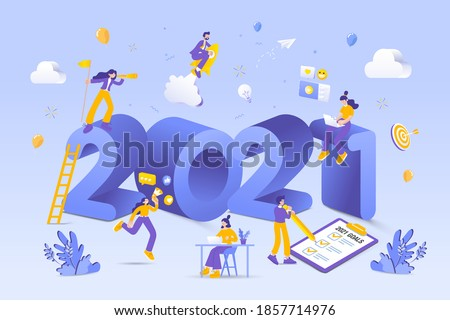 Happy new year 2021. 2021 business goals concept illustration.  Marketers doing social media marketing, seeking new opportunities, flying on rocket and checking resolutions list for new year #1857714976