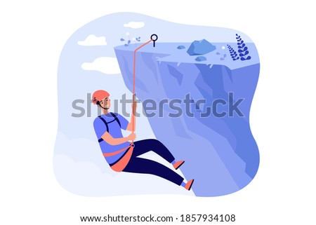 Happy mountaineer climbing rocky mountain, holding rope and hanging down from cliff. Vector illustration for extreme sport, risky activity, climber concept