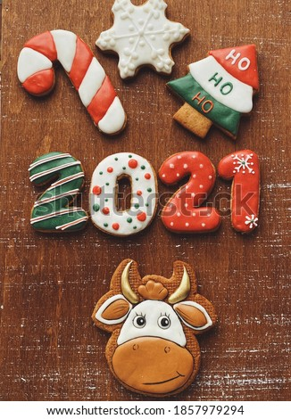 2021 year of the ox with gingerbreads. Christmas 2021