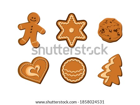 Christmas gingerbread cookies icon set. Gingerbread icon set isolated on a white background. Christmas decorative cookies with icing clip art