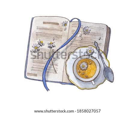 Open old vintage book and cup of camomile tea isolated on white watercolor hand drawn illustration flat lay top view teacup teatime reading card