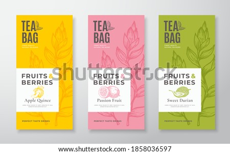 Exotic Fruits Tea Labels Set. Vector Packaging Design Layouts Bundle. Modern Typography, Hand Drawn Tea Leaves, Quince, Passion Fruit and Durian Silhouettes Background. Beverage Banners. Isolated. #1858036597