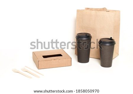 food box container package cardboard cup on white background isolation. High quality photo