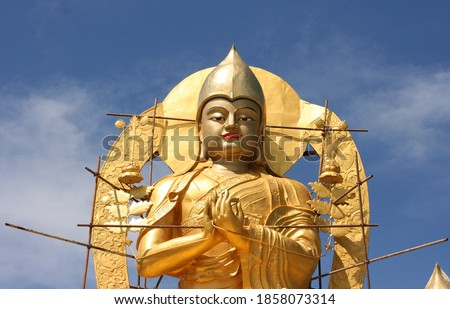 Golden sculpture in amarbayasgalant Monastery in northern Mongolia. One of three largest Buddhist monastic centers in Mongolia in Iven Valley. #1858073314