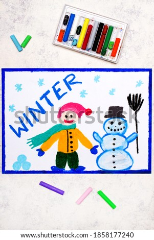 Colorful hand drawing: Word WINTER. Happy smiling man and cute snowman and snowflakes. Winter time