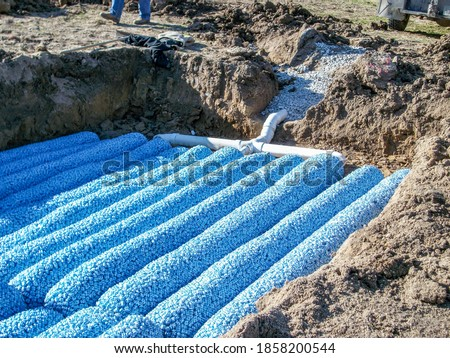 New construction of a packed bed septic leaching field in a rural residential house for wastewater treatment