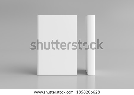Two hardcover vertical white mockup books standing on the white background. Blank front cover and spine of book. 3d illustration
