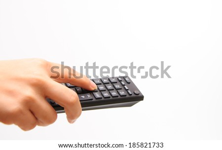 Hand control the remote with white background #185821733
