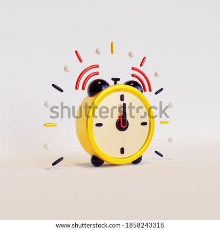 Alarm clock 3D rendering, suitable for New Year event celebration. Royalty-Free Stock Photo #1858243318