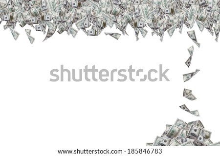 Group of one hundred dollar banknotes flying and falling down one by one, isolated on white background.