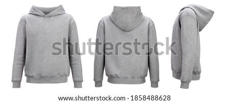 Gray hoodie template. Hoodie sweatshirt long sleeve with clipping path, hoody for design mockup for print, isolated on white background. Royalty-Free Stock Photo #1858488628