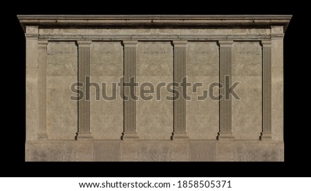 Elements of architectural decorations of buildings, columns and tops, gypsum stucco molding, wall texture and patterns. On the streets in Catalonia, public places. Royalty-Free Stock Photo #1858505371