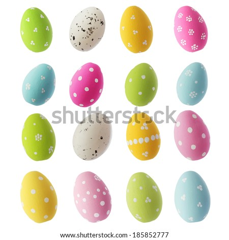 easter eggs isolated on white background Royalty-Free Stock Photo #185852777