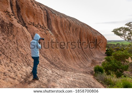 Male tourist taking pictures of Pildappa rock, wave rock in Australia rich in pink granites. Camping place and picnic area by the rock. Eyre Peninsula, Gawler ranges, South Australia's granite country