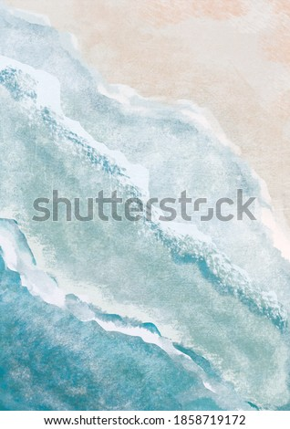 Boho Sea Beach with Waves Print. Abstract Background. Bohemian printable wall art, boho poster, pastel abstract art, landscape drawing, sea painting. Hand Drawn Effect