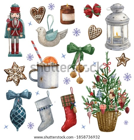 Christmas watercolor decoration clip art,ornaments clipart,winter Holiday essentials,Christmas tree decoration.Digital Christmas Stickers, christmas tree, nutcracker,socks,hand made toy,ribbon,lamp