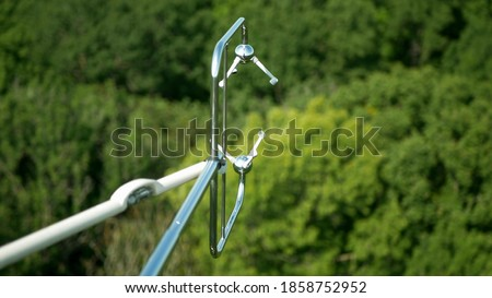 Eddy covariance systems consist sonic anemometer scientific tower station research gas analyzer wind carbon dioxide gas fluctuations. Floodplain forests meteorological weather meteorology measurements Royalty-Free Stock Photo #1858752952