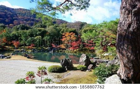 Grainy out of focus autumn season picture of the Tenryuji Temple in Kyoto Japan