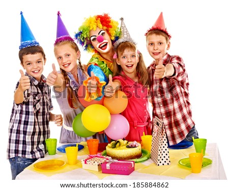 Birthday party of group teen with clown and cake. Isolated. #185884862