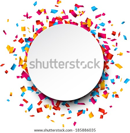 Colorful celebration background with confetti. Vector Illustration. Royalty-Free Stock Photo #185886035