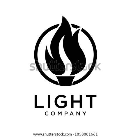 Golden Light Fire Torch Flame logo