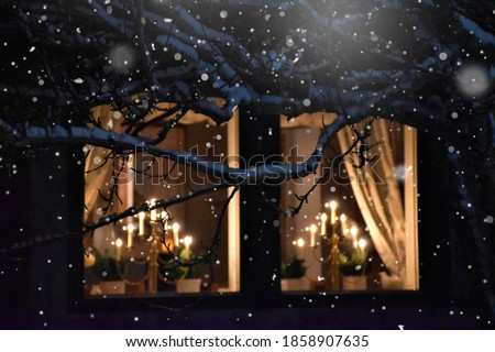 Window with snow flakes in the winter and christmas time, cold freezing weather, season, romantic, candles in the night,  tree and branches, silent, light, holy, celebration, new year, christmas eve