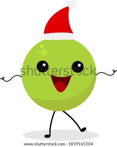 green peas in santa hat cartoon character laughing and posing on white background christmas and new year concept Royalty-Free Stock Photo #1859165104