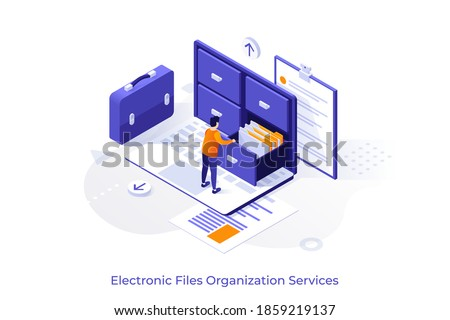 Conceptual template with man standing on laptop computer and opening drawer of storage cabinet full of documents. Scene for electronic file organization service. Isometric vector illustration. Royalty-Free Stock Photo #1859219137