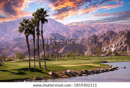 golf course at sunset  in palm springs, california, usa Royalty-Free Stock Photo #1859302111