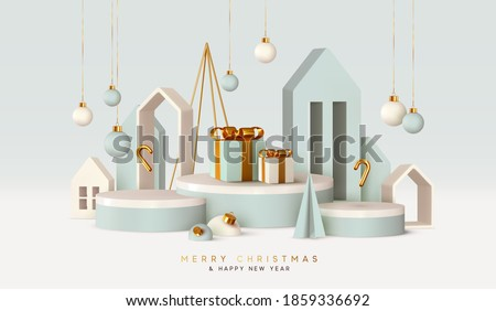 Christmas festive winter 3d composition. Realistic stage, podium, Xmas studio. Minimal abstract new year background. Modern Creative holiday template. Banner and poster. Vector illustration Royalty-Free Stock Photo #1859336692