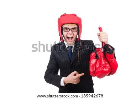 Funny boxer businessman in sport concept #185942678
