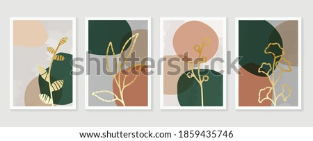 Hand painted illustrations wall arts vector. Abstract art textile design with literature or natural tropical line arts painting, Covering greetings cards, cover,print, fabrics. Royalty-Free Stock Photo #1859435746
