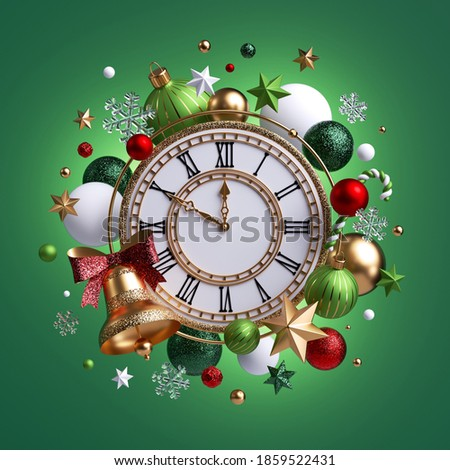 3d render, round vintage clock decorated with Christmas assorted ball ornaments, festive clip art isolated on green background. Ten minutes left before the midnight. New Year countdown concept