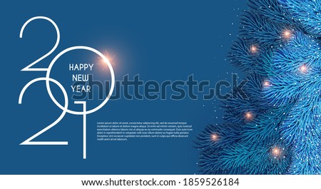 Merry Christmas and Happy New 2021 Year Holiday background with fir tree branches and lights. #1859526184