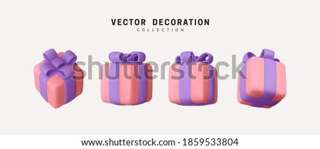 Set of realistic 3d gifts box. Holiday decoration presents. Festive gift surprise. Decor Isolated boxes. vector illustration. Royalty-Free Stock Photo #1859533804