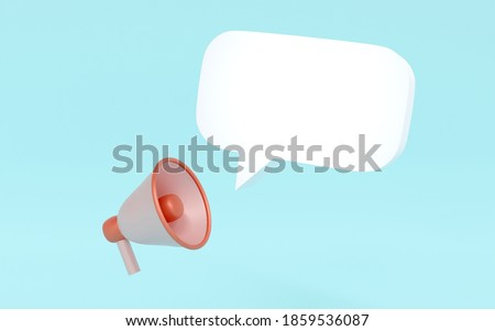 3D rendering concept of announcement,  a megaphone and a speech bubble icon for commercial design. 3D Render. Royalty-Free Stock Photo #1859536087