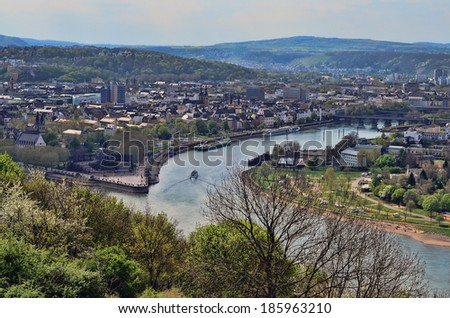 An aerial view of the Historical German Corner in Koblenz Germany where the River Rhein meets the River Mosel #185963210