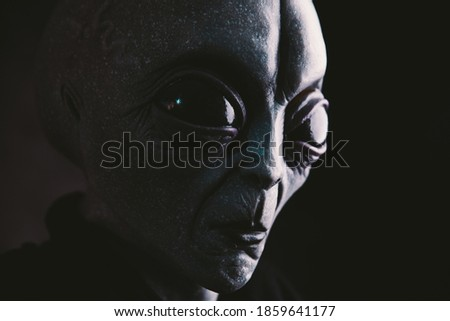 Alien creature has a message for humans. Grey kind humanoid from an other planet portrait series. Royalty-Free Stock Photo #1859641177