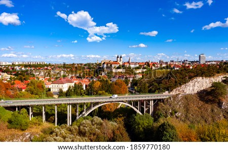 Veszprem city castle aera in aerial photo. Amazing city part with historical old houses, church and much more. The most beautiful part of this city.