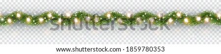 Border with green fir branches, gold lights isolated on transparent background. Pine, xmas evergreen plants seamless banner. Vector Christmas tree garland decoration #1859780353