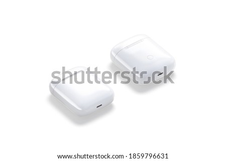 Blank white closed case mockup lying, side view, front and back, 3d rendering. Empty modern pro earbuds box mock up, isolated. Clear smart gadget for new phone audio template.