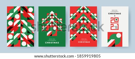 Christmas Set of greeting cards, posters, holiday covers. Geometric Xmas design with stylized Christmas Tree made of geometric shapes and New Year 2021 logo text design in red, green, white colors #1859919805